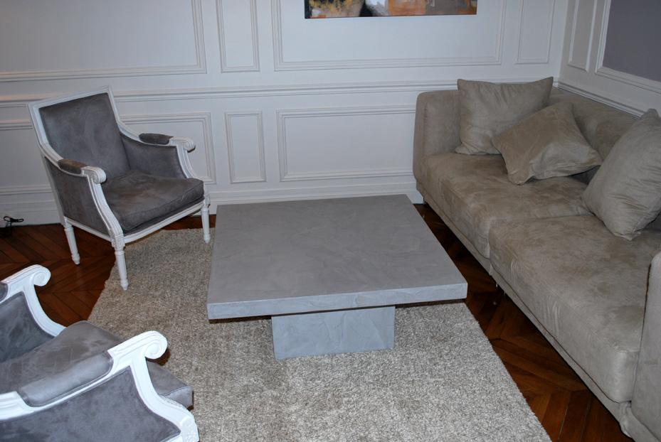 Table de salon en b ton cir sur mesure lampes design - Table de salon lumineuse ...